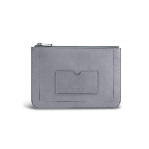 Flat pouch - Blue Grey - Nubuck Calf