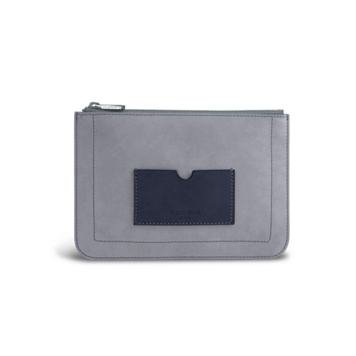 Flat pouch - Blue Grey-Navy Blue - Nubuck Calf