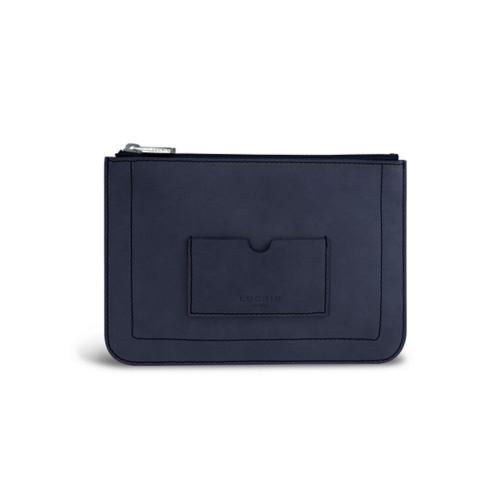 Flat pouch - Navy Blue - Nubuck Calf