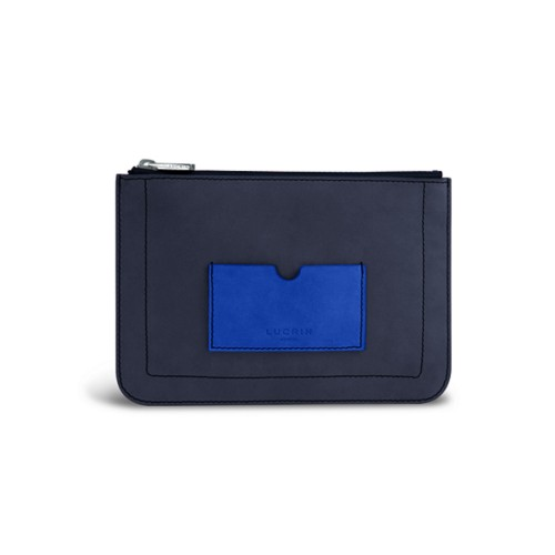 Flat pouch - Navy Blue-Royal Blue - Nubuck Calf