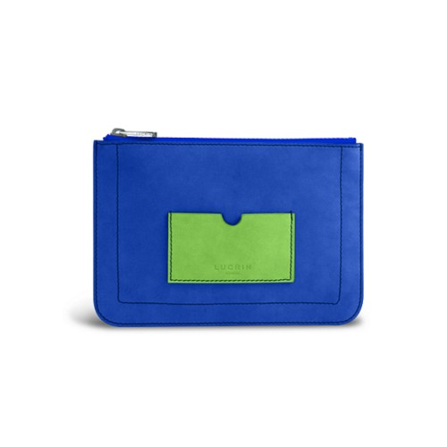 Flat pouch - Royal Blue-Light Green - Nubuck Calf