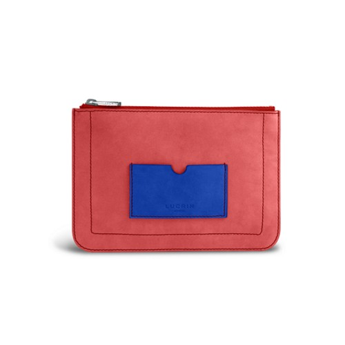 Flat pouch - Red-Royal Blue - Nubuck Calf