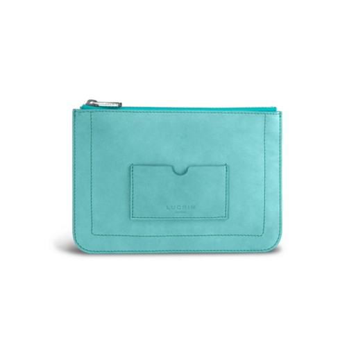 Flat pouch - Turquoise - Nubuck Calf
