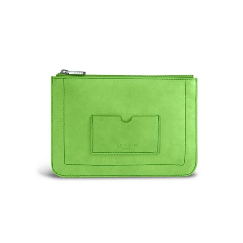 Flat pouch - Light Green - Nubuck Calf