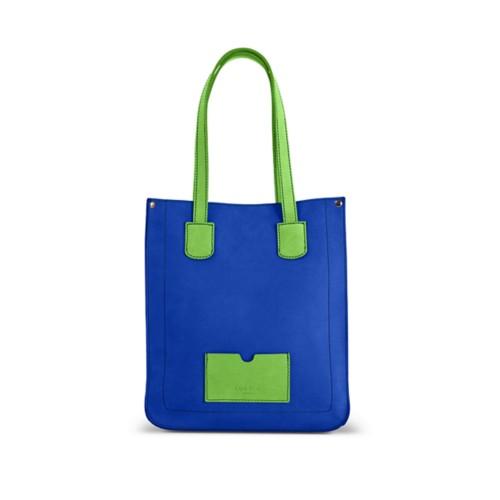 Kleiner Shopper - Azurblau-Hellgrün - Nubuck-Kalbsleder