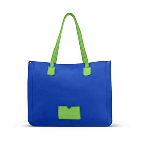 Großer Shopper - Azurblau-Hellgrün - Nubuck-Kalbsleder