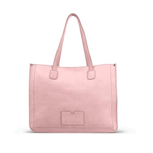 Großer Shopper - Rosa - Nubuck-Kalbsleder