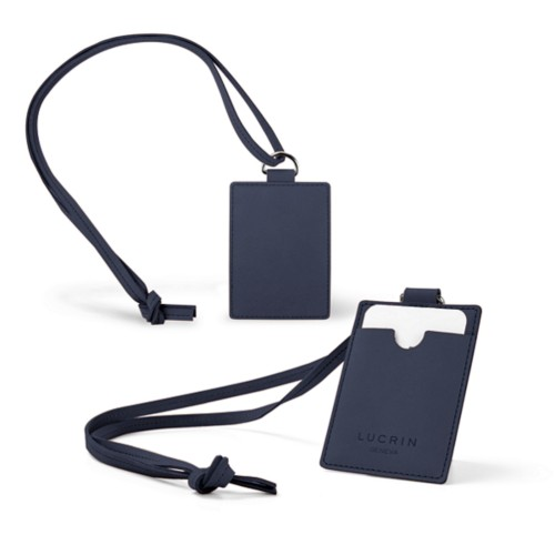 Lanyard Badge Holder - Navy Blue - Nubuck Calf