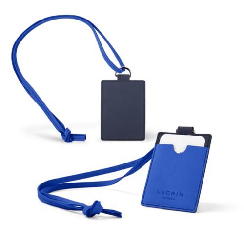 Lanyard Badge Holder - Navy Blue-Royal Blue - Nubuck Calf