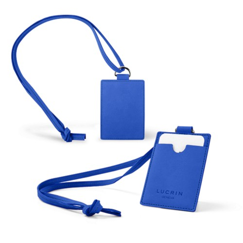 Lanyard Badge Holder - Royal Blue - Nubuck Calf