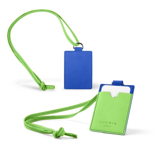 Lanyard Badge Holder - Royal Blue-Light Green - Nubuck Calf