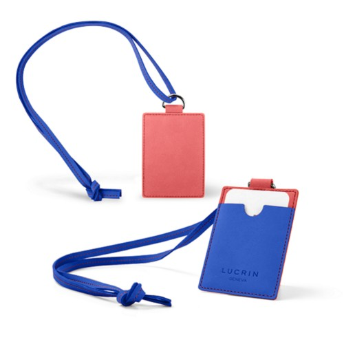 Lanyard Badge Holder - Red-Royal Blue - Nubuck Calf
