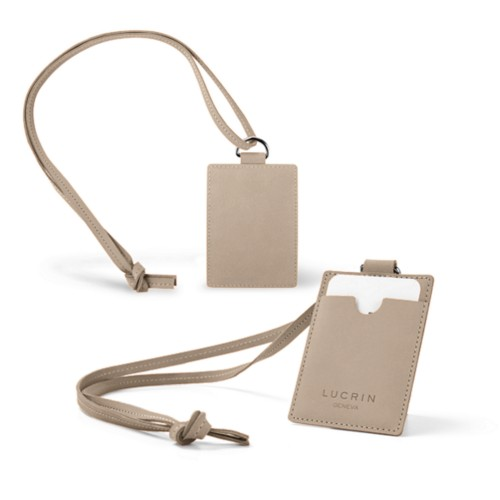 Lanyard Badge Holder - Taupe - Nubuck Calf