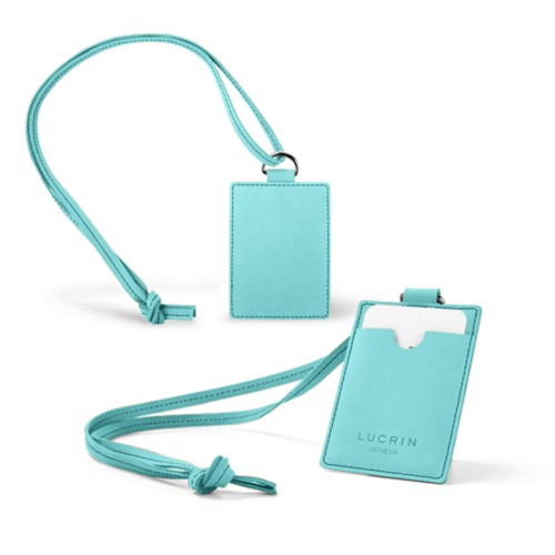 Lanyard Badge Holder - Turquoise - Nubuck Calf