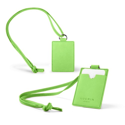 Lanyard Badge Holder - Light Green - Nubuck Calf