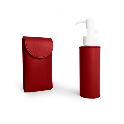 Mask and Sanitiser Kit - Red - Smooth Leather