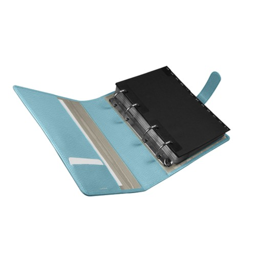 A5 Binder for business cards - Sky Blue - Goat Leather