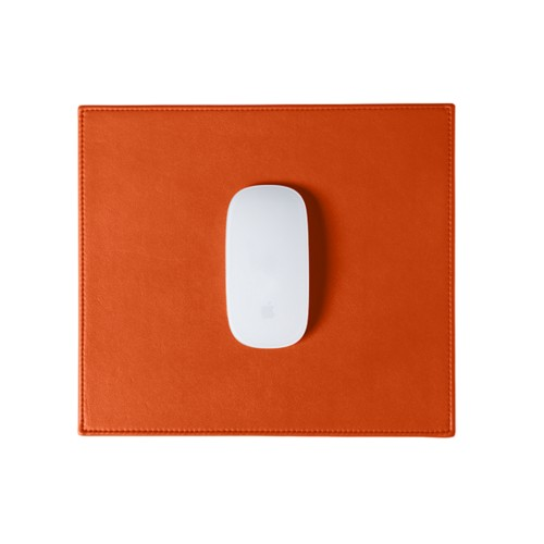 Rectangular Mouse Pad - Orange - Smooth Leather