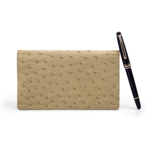 Week-To-Week pocket diary - Beige - Real Ostrich Leather