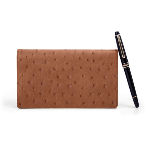 Week-To-Week pocket diary - Tan - Real Ostrich Leather