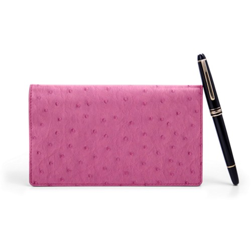 Week-To-Week pocket diary - Fuchsia  - Real Ostrich Leather