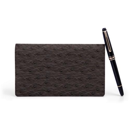 Week-To-Week pocket diary - Dark Brown - Real Ostrich Leather