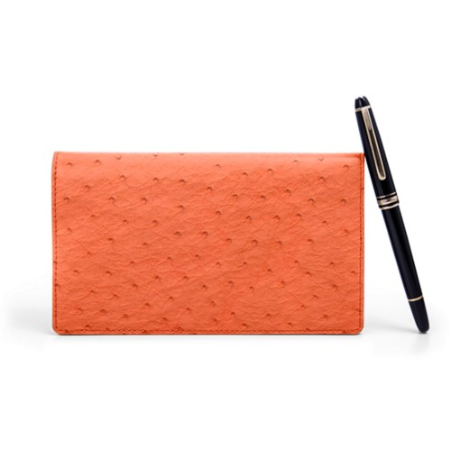 Agenda Semainier (10 x 17 cm) - Orange - Autruche Véritable
