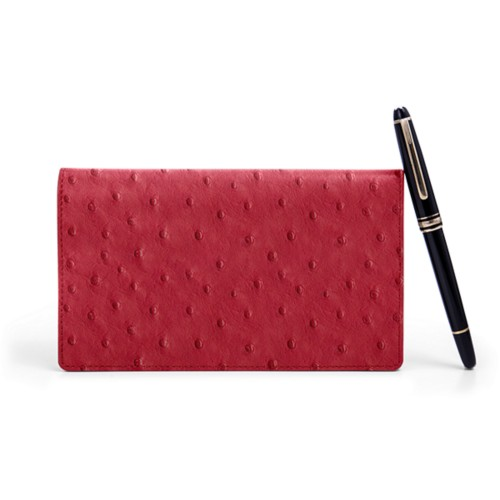 Week-To-Week pocket diary - Red - Real Ostrich Leather