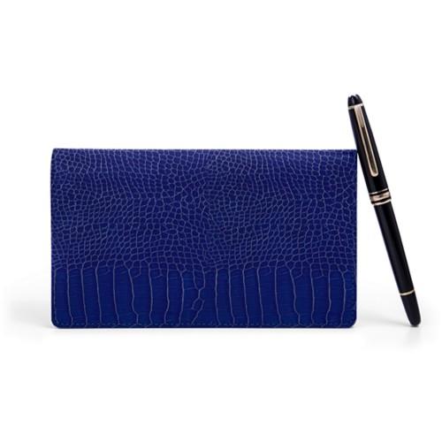 Week-To-Week pocket diary - Royal Blue - Crocodile style calfskin