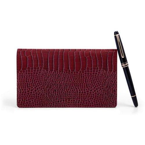 Week-to-Week Pocket Diary  - Fuchsia  - Crocodile style calfskin