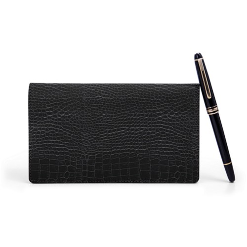 Week-to-Week Pocket Diary  - Black - Crocodile style calfskin