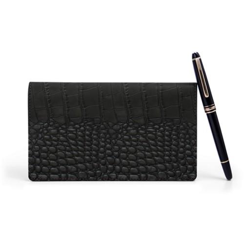 Week-To-Week pocket diary - Black - Crocodile style calfskin