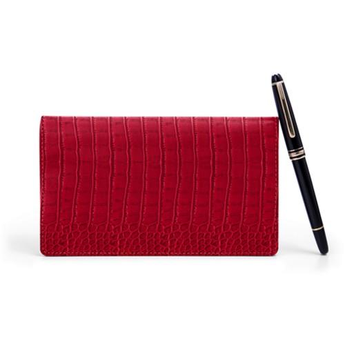Week-To-Week pocket diary - Red - Crocodile style calfskin