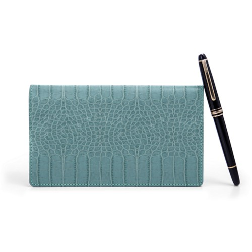 Week-To-Week pocket diary - Turquoise - Crocodile style calfskin