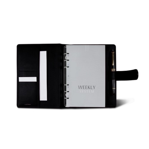 Medium Organizer (140 x 195 mm) - Black - Crocodile style calfskin