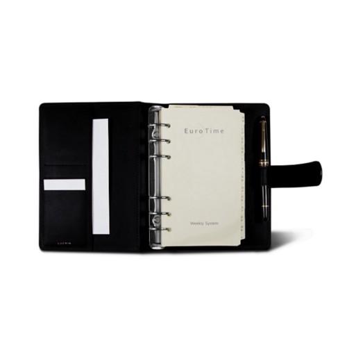Medium Organizer (140 x 195 mm) - Black - Crocodile style calfskin