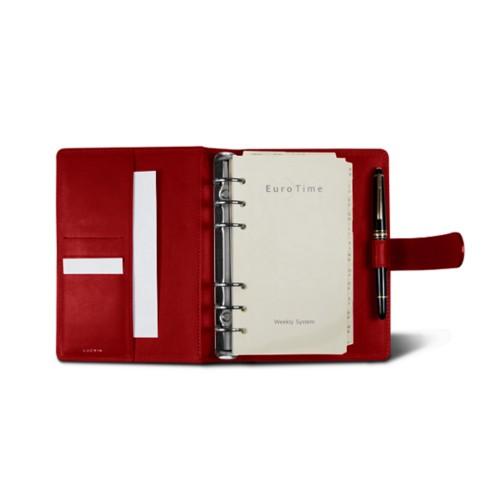 Medium Organizer (140 x 195 mm) - Red - Crocodile style calfskin