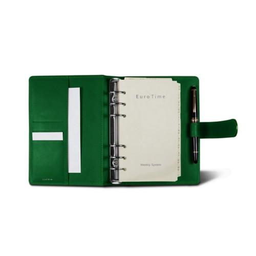Medium Organizer (140 x 195 mm) - Light Green - Crocodile style calfskin