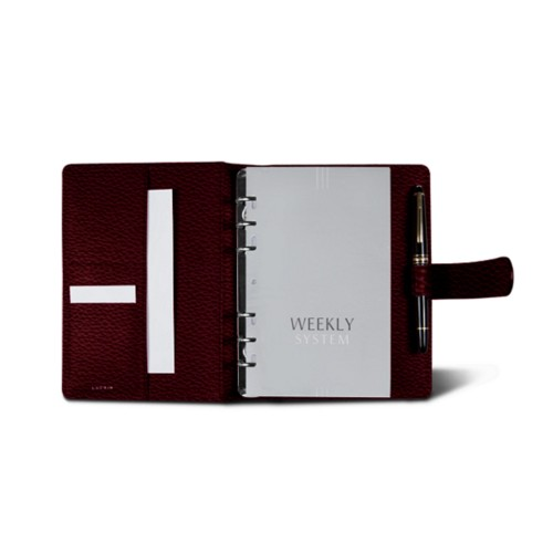 Medium Organizer (140 x 195 mm) - Burgundy - Granulated Leather