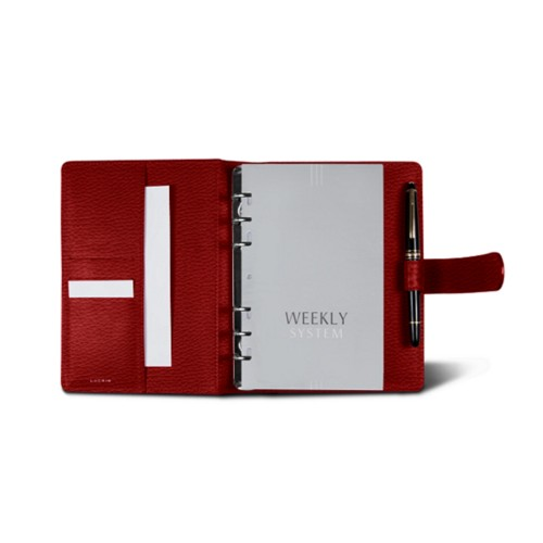Medium Organizer (140 x 195 mm) - Red - Granulated Leather