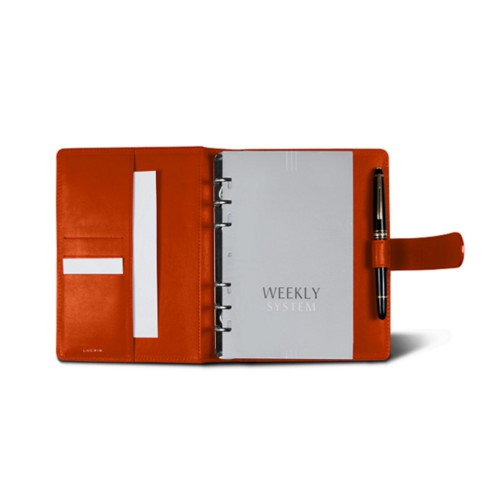 Medium Organizer (140 x 195 mm) - Orange - Smooth Leather