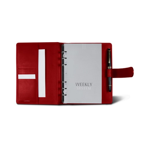 Medium Organizer (140 x 195 mm) - Red - Smooth Leather