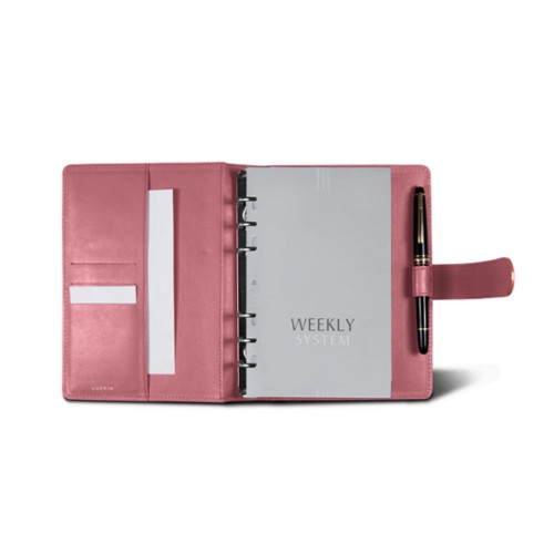 Medium Organizer (140 x 195 mm) - Pink - Smooth Leather