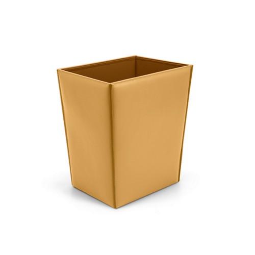 Rectangular paper basket - Mustard Yellow - Smooth Leather