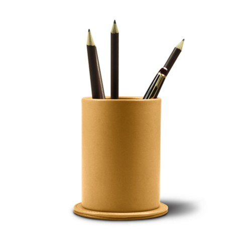 Portapenne rotondo - Amarelo Mostarda - Pelle Liscia