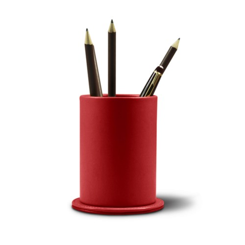 Round pen holder - Red - Smooth Leather