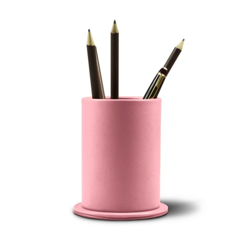 Round pen holder - Pink - Smooth Leather