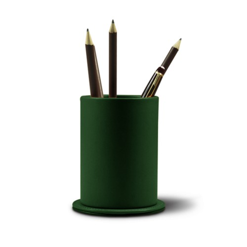Round pen holder - Dark Green - Smooth Leather