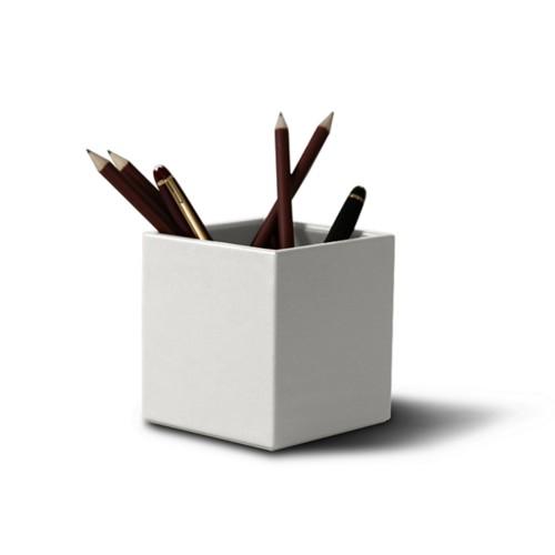 Quodrato portapenne - Bianco - Pelle Liscia