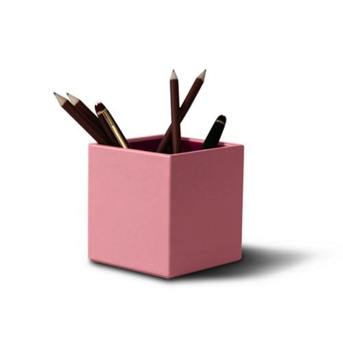 Portalápices cuadrado - Rosa - Piel Liso